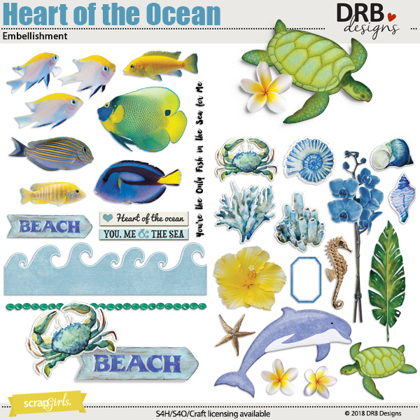 Heart of the Ocean Embellishment by DRB Designs | ScrapGirls.com