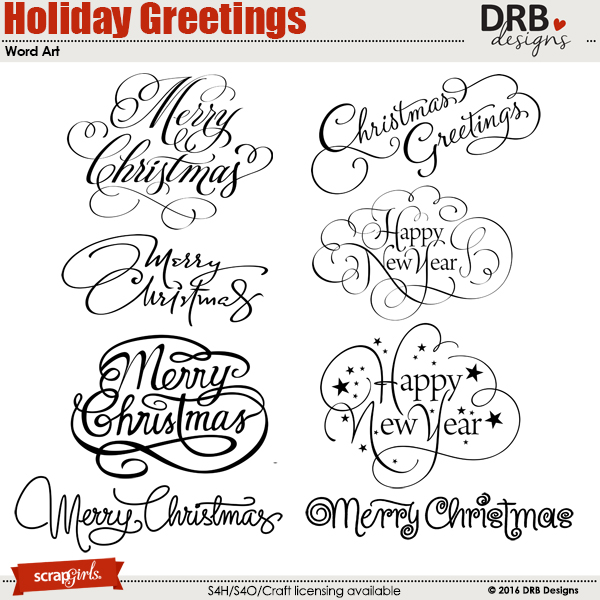 Holiday Greetings Word Art | by DRB Designs @ ScrapGirls.com