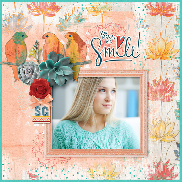 Smile digital scrapbooking layout featuring My Journal Collections