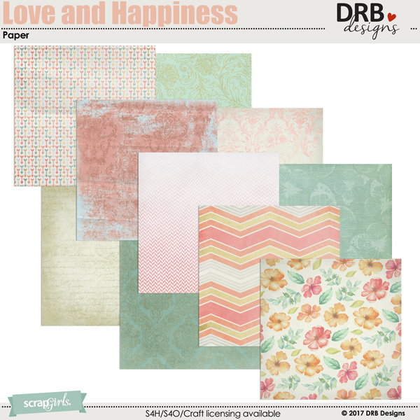 Love and Happiness Paper by DRB Designs   ScrapGirls.com