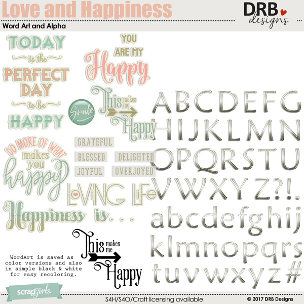 Love and Happiness WA & Alpha by DRB Designs | ScrapGirls.com
