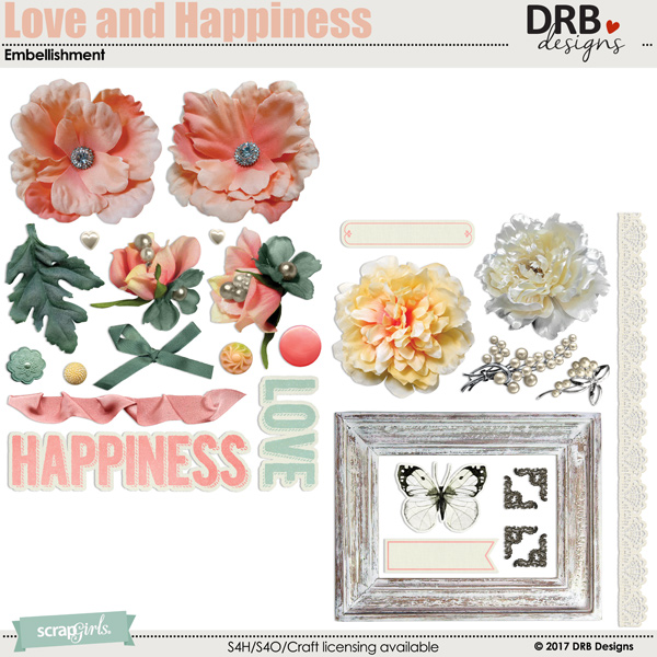 Love and Happiness Embellishment by DRB Designs | ScrapGirls.com