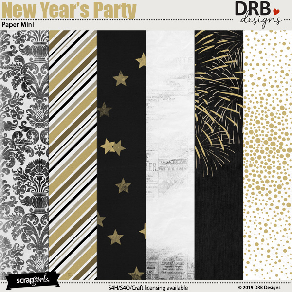 New Years Party Paper Mini by DRB Designs | ScrapGirls.com