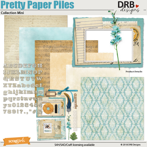 Pretty Paper Piles Collection Mini by DRB Designs | Scrapgirls.com