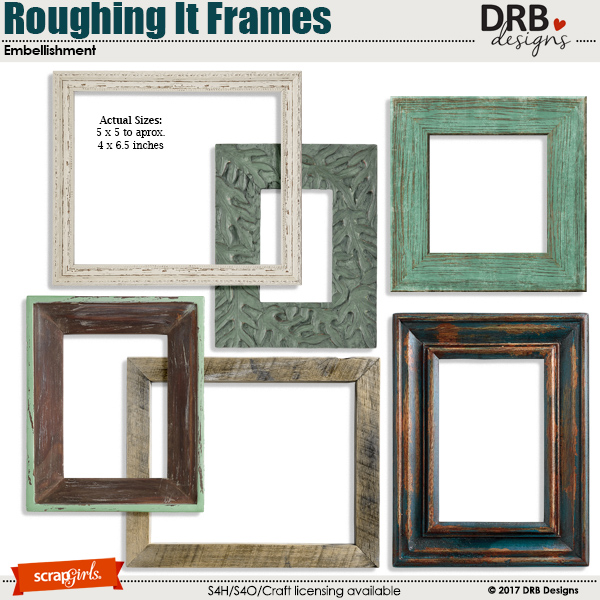 Roughing It Frames Embellishment by DRB Designs | ScrapGirls.com