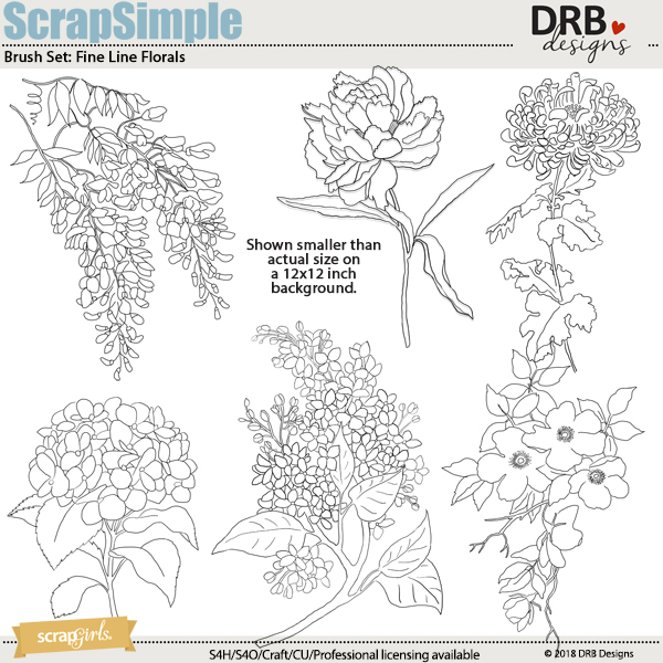 ScrapSimple Brush Templates: Fine Line Flowers | ScrapGirls.com