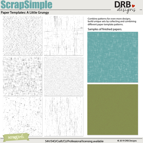 ScrapSimple Paper Templates: A Little Grungy by DRB Designs | ScrapGirls.com