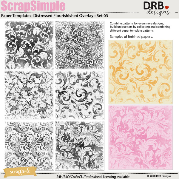 ScrapSimple Paper Template: Distressed Flourished Overlays • Set 03 by DRB Designs | ScrapGirls.com