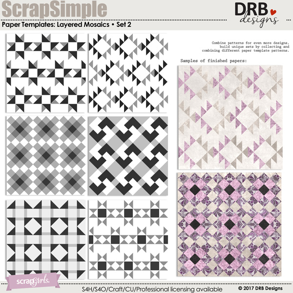 ScrapSimple Paper Templates: Layered Mosaics • Set 02 | ScrapGirls.com