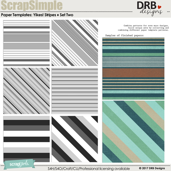 SS Paper Templates: Yikes! Stripes - Set Two by DRB Designs | ScrapGirls.com