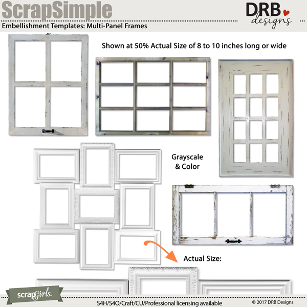 ScrapSimple Embellishment Templates: Multi-Panel Frames | ScrapGirls.com