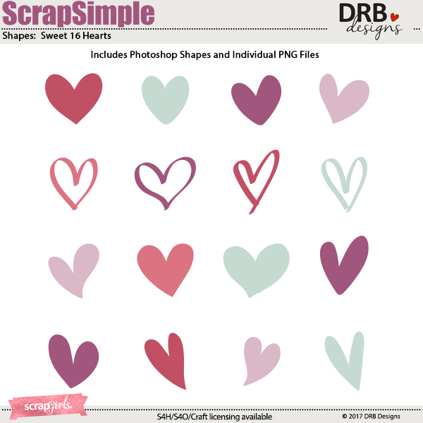 ScrapSimple Tools - Shapes: Sweet 16 Hearts by DRB Designs