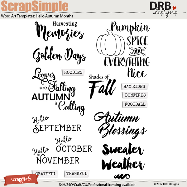 ScrapSimple Word Art Templates: Hello Autumn Months | ScrapGirls.com