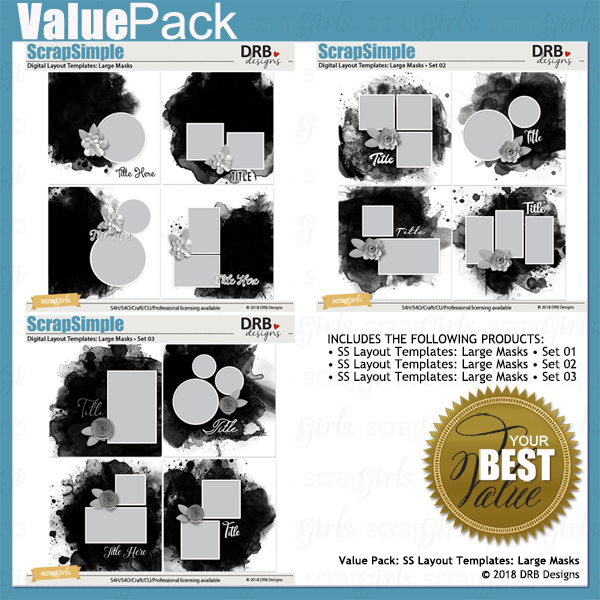 Value Pack: ScrapSimple Digital Layout Templates: Large Masks by DRB Designs