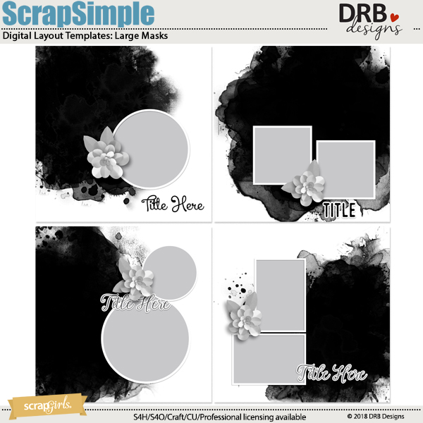 ScrapSimple Digital Layout Template: Large Masks by DRB Designs