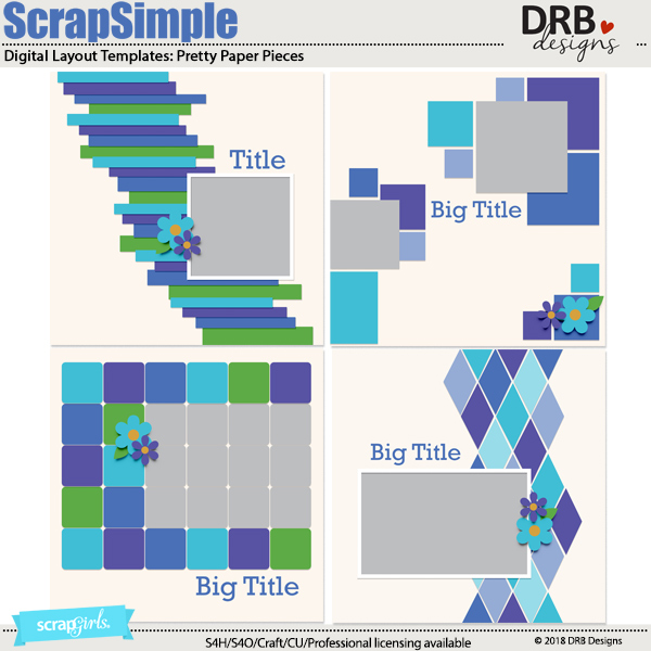ScrapSimple Digital Layout Template: Pretty Paper Pieces by DRB Designs