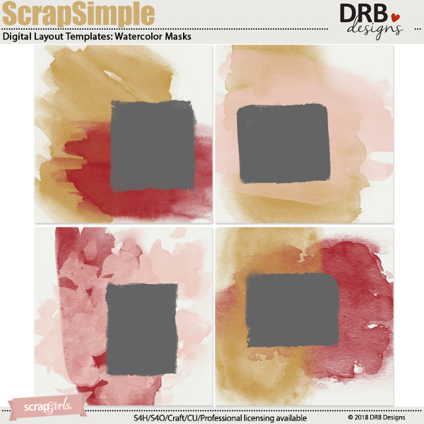 ScrapSimple Digital Layout Template: Watercolor Masks by DRB Designs