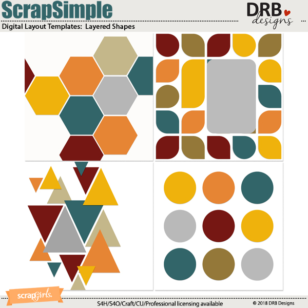 ScrapSimple Digital Layout Template: Layered Shapes by DRB Designs
