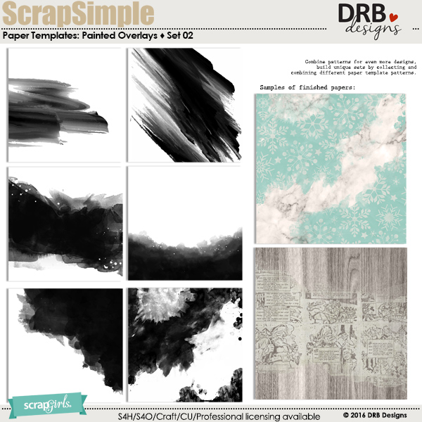 ScrapSimple Paper Templates: Painted Overlays Set 02 by DRB Designs | ScrapGirls.com
