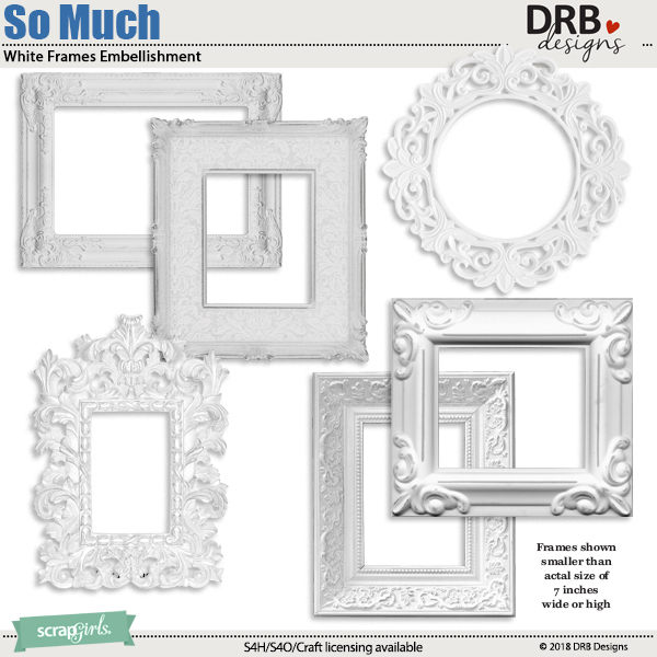 So Much White Frames Embellishment by DRB Designs | ScrapGirls.com