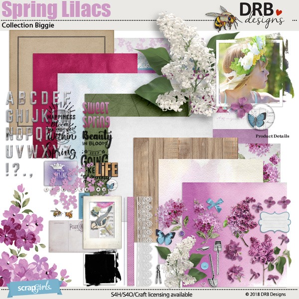 Spring Lilacs Collection Biggie by DRB Designs | ScrapGirls.com