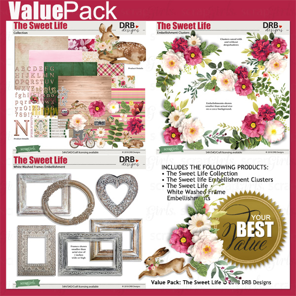 Value Pack: The Sweet Life by DRB Designs | ScrapGirls.com