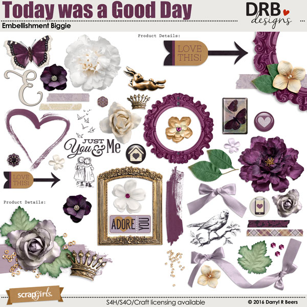 Today was a Good Day Embellishment Biggie by DRB Designs | ScrapGirls.com
