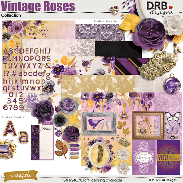 Vintage Roses Collection by DRB Designs | ScrapGirls.com