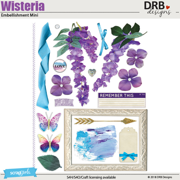 Wisteria Embellishment Mini by DRB Designs | ScrapGirls.com