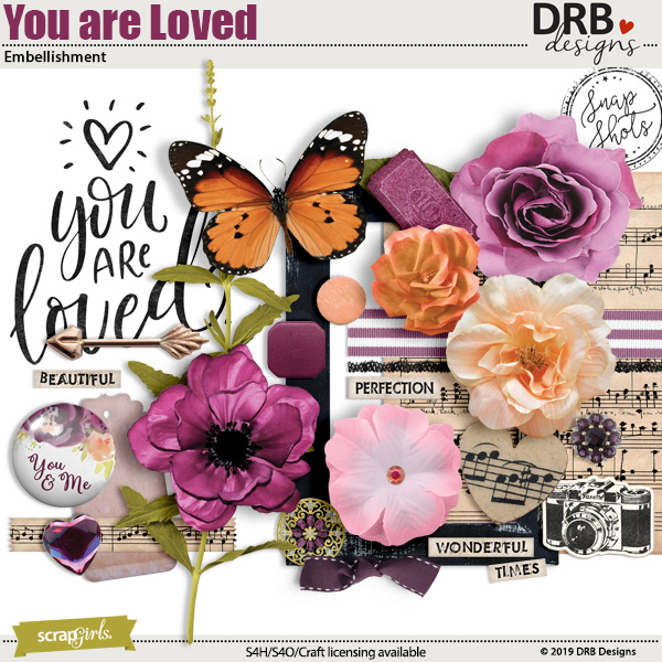 You are Loved Embellishment by DRB Designs   ScrapGirls.com