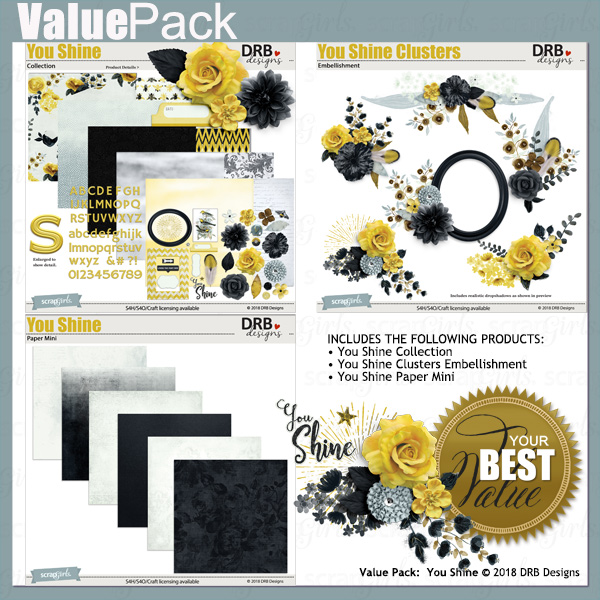 Value Pack: You Shine by DRB Designs | ScrapGirls.com