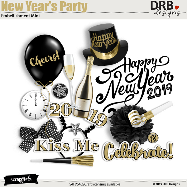 New Years Party Embellishment Mini by DRB Designs | ScrapGirls.com