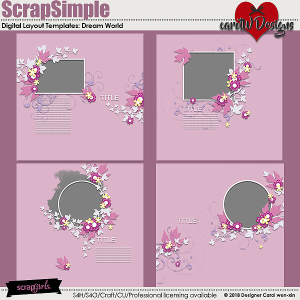 ScrapSimple Digital Layout Templates:DreamWorld