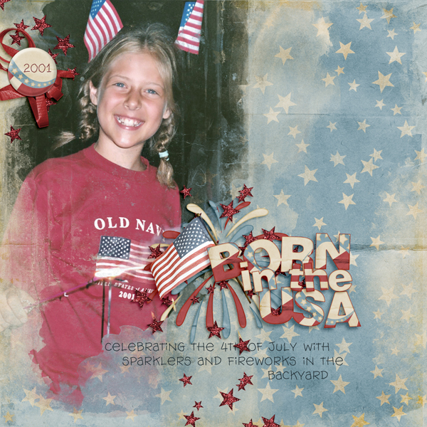 Digital Scrapbook Layout using Born in the USA Collection Mini