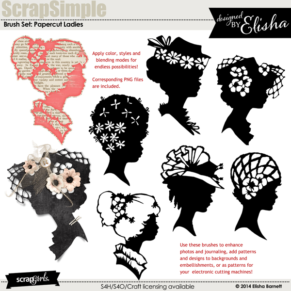 "You may also like <a href=""http://store.scrapgirls.com/brush-set-papercut-ladies-p30370.php"">Brush Set: Papercut Ladies</a> (sold separately)"