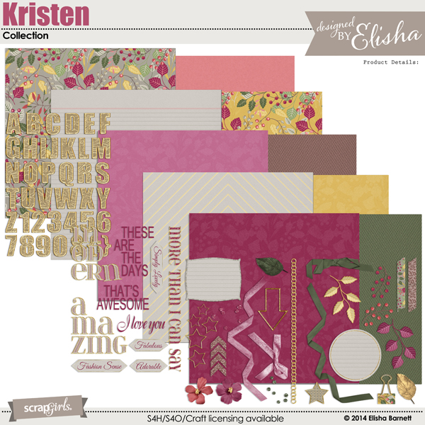 "This paper set is included in the  <a href=""http://store.scrapgirls.com/kristen-collection-p31309.php"">The Kristen Collection</a> (sold separately)"