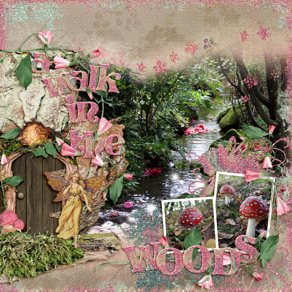Digital Scrapbook Layout using Fairy Frolic Collection
