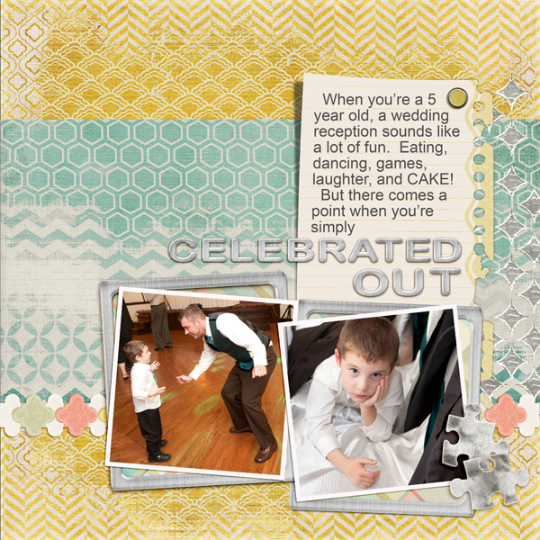 Digital Scrapbook Layout using Modern Glitz Embellishments
