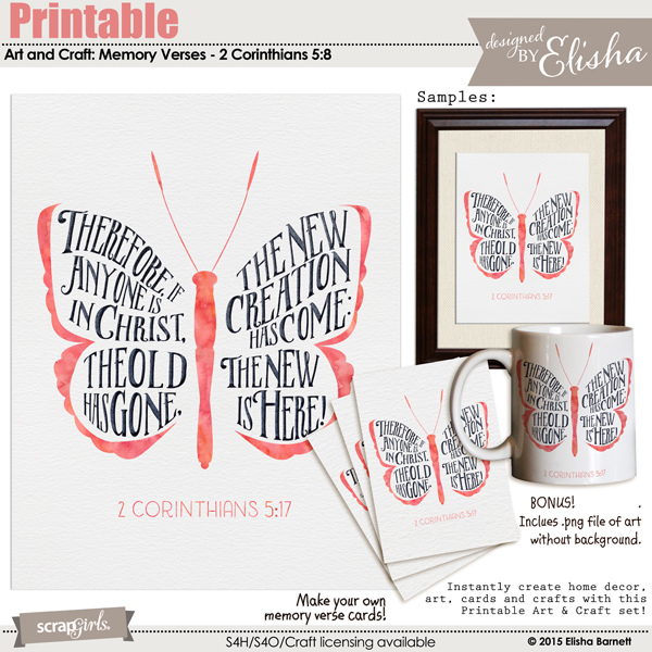 Printable Art and Crafts: Memory Verses - 2 Corinthians 5:17