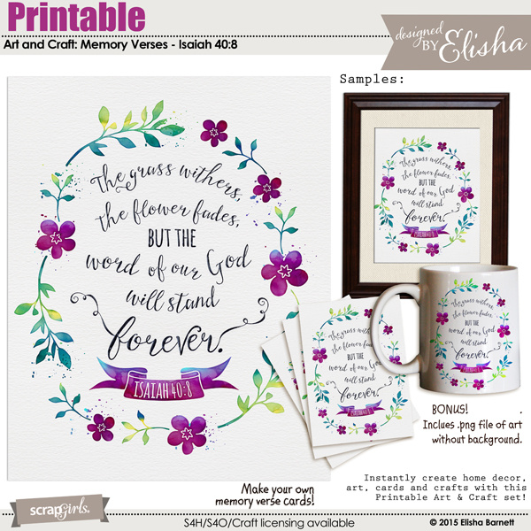 photograph about Printable Arts and Crafts referred to as Printable Artwork and Crafts: Memory Verses - Isaiah 40:8