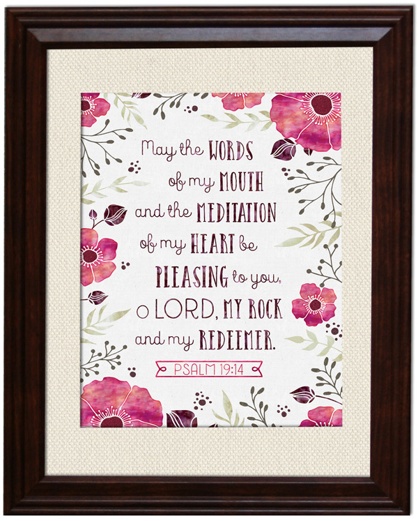 Framed print using Printable Art and Crafts: Memory Verses - Psalm 19:14