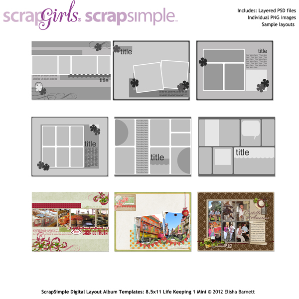 ScrapSimple Digital Layout Album Templates: 8.5x11 Life Keeping 1 Mini