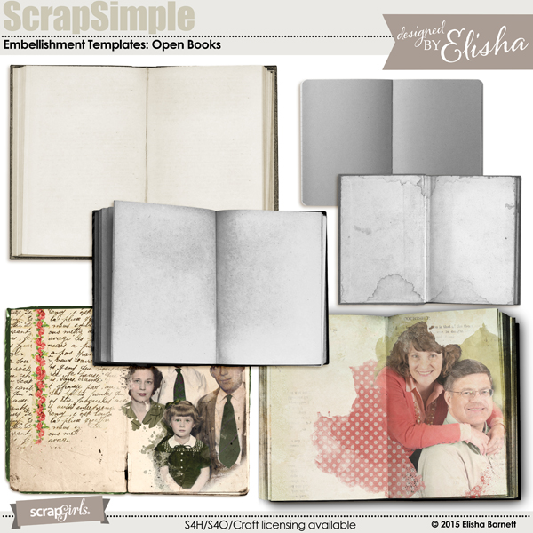 "You may also like <a href=""http://store.scrapgirls.com/scrapsimple-embellishment-templates-open-books-p31921.php"">ScrapSimple Embellishment Templates: Open Books</a> (sold separately)"