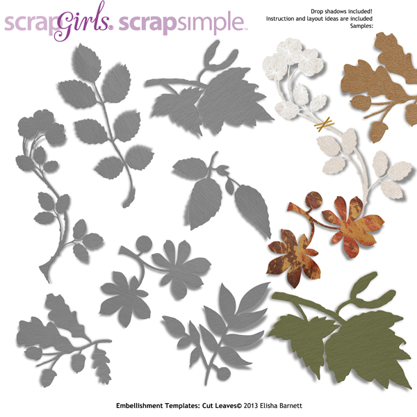 "You may also like <a href=""http://store.scrapgirls.com/scrapsimple-embellishment-templates-cut-leaves-p29859.php"">ScrapSimple Embellishment Templates: Cut Leaves</a> (sold separately)"