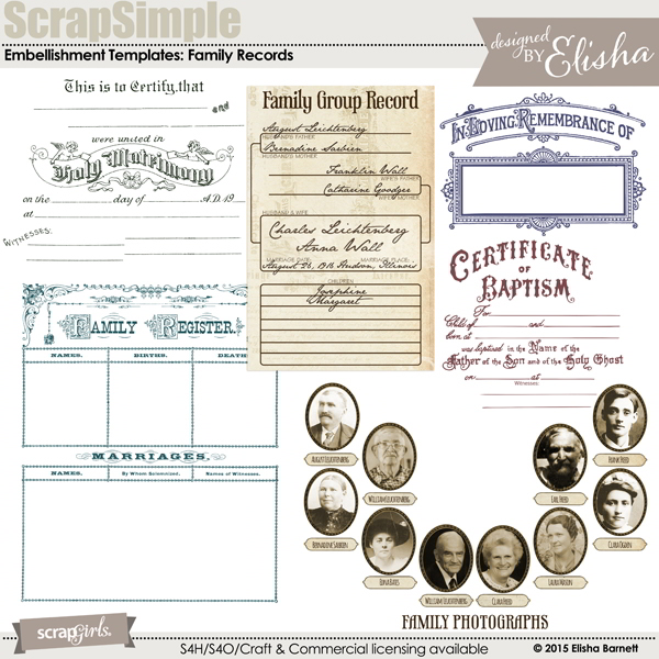 ScrapSimple Embellishment Templates: Family Records