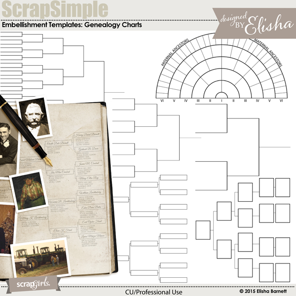 scrapsimple embellishment templates genealogy charts