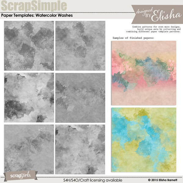 ScrapSimple Paper Templates: Watercolor Washes