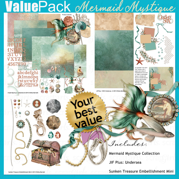 "You may also like <a href=""http://store.scrapgirls.com/value-pack-mermaid-mystique-p29167.php"">Value Pack: Mermaid Mystique</a> (sold separately)"