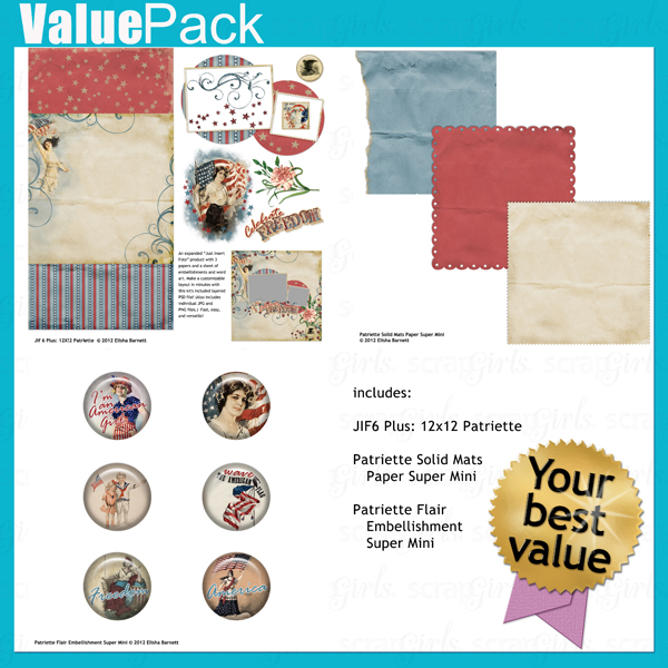"You may also like <a href=""http://store.scrapgirls.com/p26139.php"">Value Pack: Patriette</a> (sold separately)"