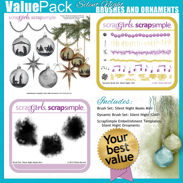 "This product is included in <a href=""http://store.scrapgirls.com/p27233.php"">Value Pack: Silent Night Brushes and Ornaments</a> (sold separately)"